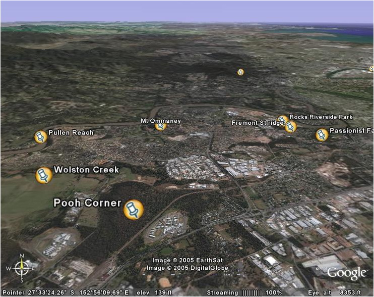 Google Maps oblique view of Centenary suburbs
